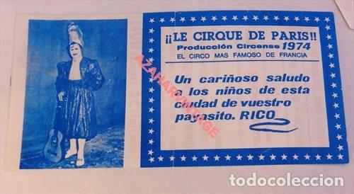 CIRCO, ANTIGUA ENTRADA LE CIRQUE DE PARIS, 1974 (Coleccionismo - Documentos - Otros documentos)