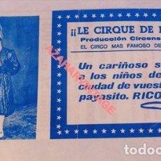 Documentos antiguos: CIRCO, ANTIGUA ENTRADA LE CIRQUE DE PARIS, 1974. Lote 114829875