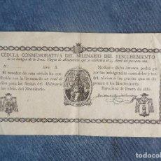 Documentos antiguos: IMPRESO CÉDULA COMMEMORATIVA, DESCUBRIMIENTO DE LA IMAGEN DE LA SMA. VÍRGEN DE MONSTSERRAT. Lote 114888139