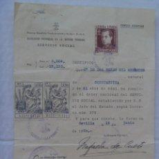Documentos antiguos: SECCION FEMENINA DE FALANGE : CERTIFICADO SERVICIO SOCIAL DE LA MUJER. SEVILLA, 1950. CON VIÑETA.. Lote 114988059