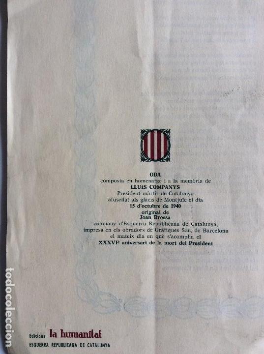 Documentos antiguos: Oda al President Companys per Joan Brossa . Any 1976 - Edicions la Humanitat - Foto 5 - 115217515