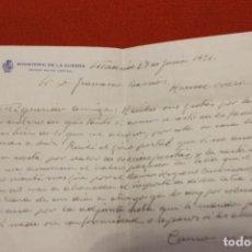 Documentos antiguos: CARTA MEMBRETE, MINISTERIO DE LA GUERRA, ESTADO MAYOR CENTRAL. JUNIO 1936. Lote 115372947