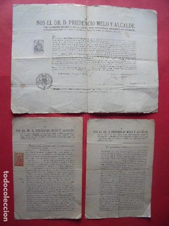 PRUDENCIO MELO Y ALCALDE.-ARZOBISPO DE VALENCIA.-REAL CEDULA.-FIRMAS MANUSCRITAS.-BELLREGUART. (Coleccionismo - Documentos - Otros documentos)
