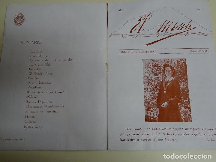 Documentos antiguos: REVISTA DOCUMENTO RELIGIOSO. EL MONTE. AÑO 1948. NIÑAS. COLEGIO SAGRADA FAMILIA MÁLAGA. 40 GR - Foto 2 - 115428263