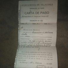 Documentos antiguos: CARTA PAGO NICHO CEMENTERIO VILLALONGA 1925. Lote 115512699