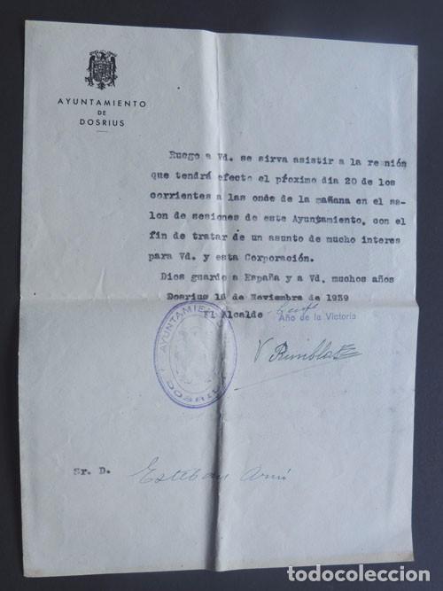 DOCUMENTO CITACION / DOSRIUS AÑO 1939 / BARCELONA / AYUNTAMIENTO NACIONAL / DIOS GUARDE A ESPAÑA (Coleccionismo - Documentos - Otros documentos)