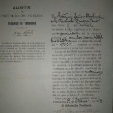 Documentos antiguos: DOCUMENTO COMUNICACION NOMBRAMIENTO MAESTRO EN PROPIEDAD. RECTORADO UNIVERSIDAD TARRAGONA AÑO 1909. Lote 115516006