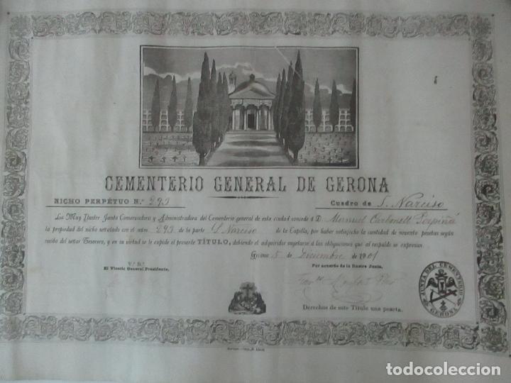 DOCUMENTO CEMENTERIO GENERAL DE GERONA (GIRONA) - SAN NARCISO - COMPRA DE UN NINCHO - AÑO 1901 (Coleccionismo - Documentos - Otros documentos)