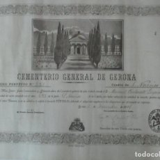 Documentos antiguos: DOCUMENTO CEMENTERIO GENERAL DE GERONA (GIRONA) - SAN NARCISO - COMPRA DE UN NINCHO - AÑO 1901. Lote 115538775