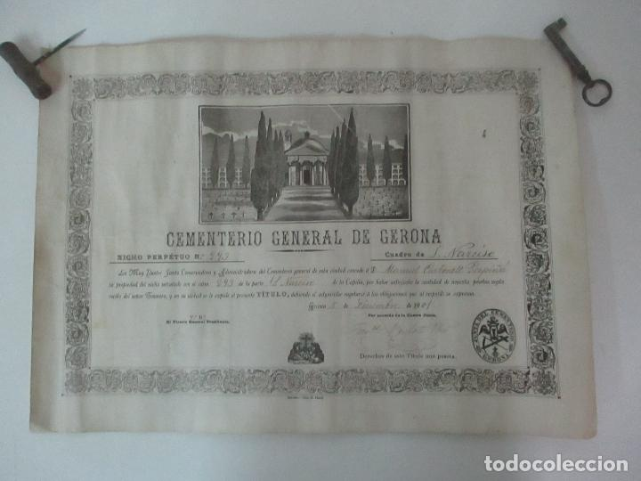 Documentos antiguos: Documento Cementerio General de Gerona (Girona) - San Narciso - Compra de un Nincho - Año 1901 - Foto 2 - 115538775