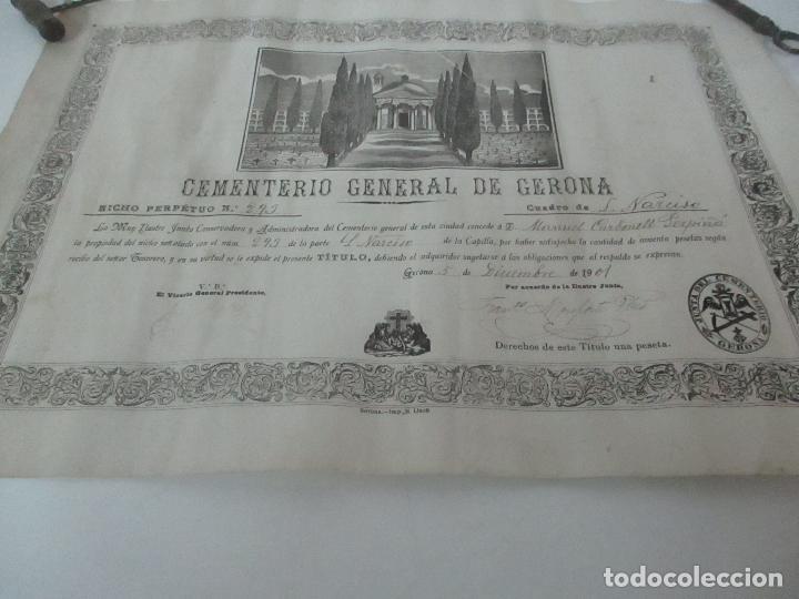 Documentos antiguos: Documento Cementerio General de Gerona (Girona) - San Narciso - Compra de un Nincho - Año 1901 - Foto 4 - 115538775