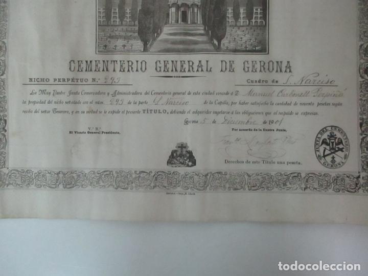 Documentos antiguos: Documento Cementerio General de Gerona (Girona) - San Narciso - Compra de un Nincho - Año 1901 - Foto 5 - 115538775
