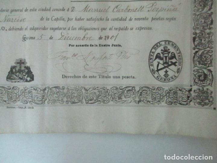 Documentos antiguos: Documento Cementerio General de Gerona (Girona) - San Narciso - Compra de un Nincho - Año 1901 - Foto 6 - 115538775