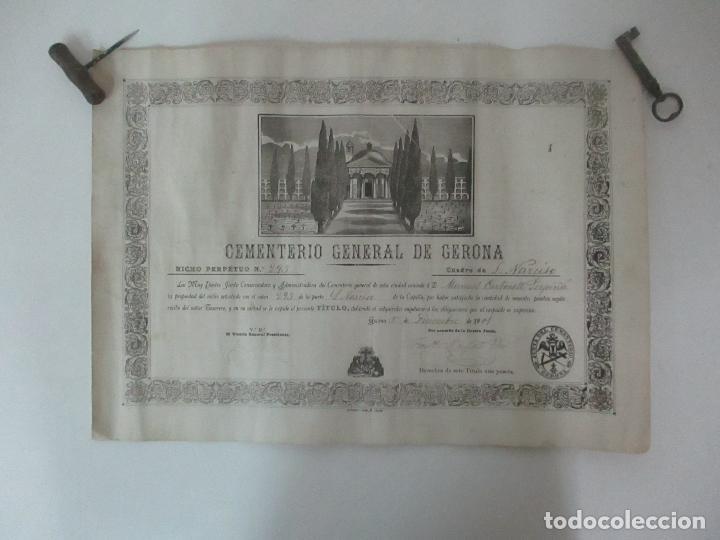 Documentos antiguos: Documento Cementerio General de Gerona (Girona) - San Narciso - Compra de un Nincho - Año 1901 - Foto 7 - 115538775