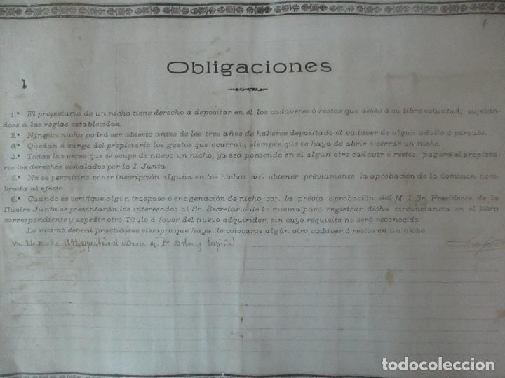 Documentos antiguos: Documento Cementerio General de Gerona (Girona) - San Narciso - Compra de un Nincho - Año 1901 - Foto 12 - 115538775