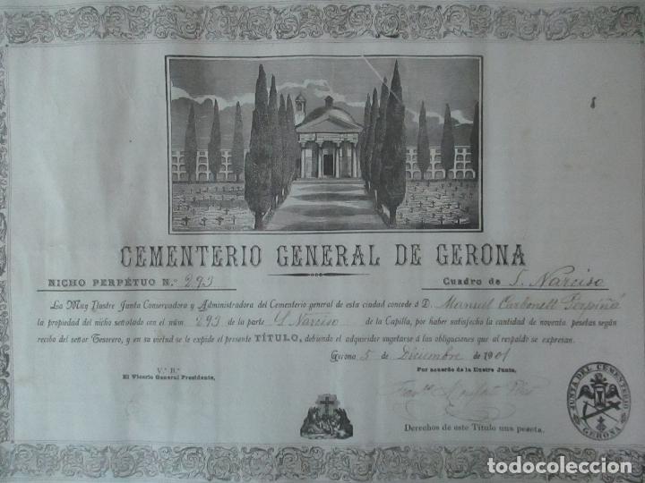 Documentos antiguos: Documento Cementerio General de Gerona (Girona) - San Narciso - Compra de un Nincho - Año 1901 - Foto 13 - 115538775
