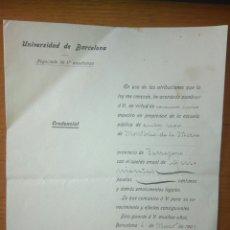 Documentos antiguos: CREDENCIAL NOMBRAMIENTO MAESTRO EN PROPIEDAD ESCUELA MONTBRIÓ DE LA MARCA UNIVERSIDA BARCELONA 1909. Lote 115548262