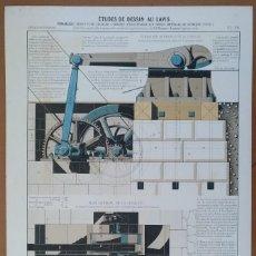 Documentos antiguos: LAMINA FRANCESA S XIX CIZALLA (MECANICA) METALURGIA DEL HIERRO 32 X 50 CM (APROX). Lote 115694163