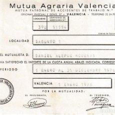 Documentos antiguos: 1976. SAGUNTO (VALENCIA) RECIBO MUTUA AGRARIA VALENCIANA. Lote 115723031