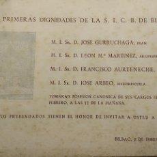 Documentos antiguos: DOCUMENTO RELIGIOSO. POSICIÓN CANÓNICA. AÑO 1953. PRIMERAS DIGNIDADES S. I. C. B. IGLESIA DE BILBAO. Lote 115918683