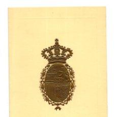 Documentos antiguos: TARJETA CON ESCUDO REAL, FELICITACIÓN AÑO 1972 JUAN DE BORBÓN Y MARÍA DE LAS MERCEDES 11,5 X 16 CM. Lote 116136523