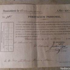 Documentos antiguos: TORREMANZANAS ALICANTE 1904. Lote 116192755