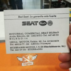 Documentos antiguos: TARJETA RADIO TAXI BILBAO -RED SEAT AUDI ETC.... Lote 116232571
