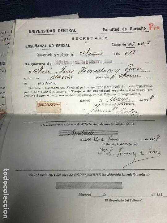 Documentos antiguos: universidad central facultad derecho curso 1917 1918 notas examenes asignaturas varias - Foto 4 - 116272115