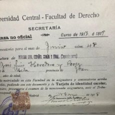 Documentos antiguos: UNIVERSIDAD CENTRAL FACULTAD DERECHO CURSO 1917 1918 NOTAS EXAMENES ASIGNATURAS VARIAS . Lote 116272115