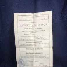 Documentos antiguos: INSTITUTO GENERAL Y TECNICO BAEZA CURSO 1908 1909 MATRICULA HONOR HISTORIA DERECHO. Lote 116273035