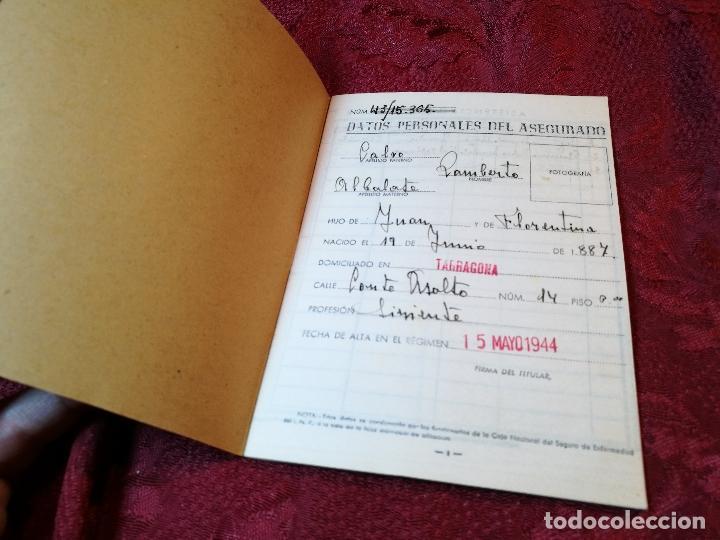 Documentos antiguos: CARTILLA IDENTIDAD CAJA NACIONAL DE SEGURO ENFERMEDAD 1944-TARRAGONA - Foto 3 - 116279423
