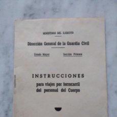 Documentos antiguos: ANTIGUO DOCUMENTO DE INSTRUCCIONES DE LA DIRECCION GENERAL DE LA GUARDIA CIVIL.. Lote 116435623