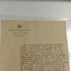 Documentos antiguos: DOCUMENTO MECANOGRAFIADO. MINISTERIO DE DEFENSA NACIONAL. EJERCITO DE TIERRA. 1939 BARCELONA. SUBSEC. Lote 116626903