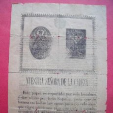 Documentos antiguos: NUESTRA SEÑORA DE LA CABEZA.-VIRGEN DE LA CABEZA.-MILAGRO.-JUANA DEL PINO.-ECIJA.-ANDUJAR.-AÑO 1899.. Lote 116728419