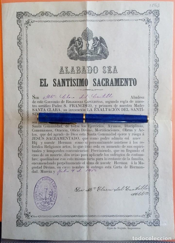 MURCIA- COMUNIDAD DE POBRES CAPUCHINOS- CONVENTO RELIGIOSAS CAPUCHINAS 1.917 (Coleccionismo - Documentos - Otros documentos)