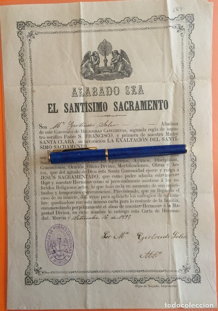 MURCIA- COMUNIDAD DE POBRES CAPUCHINOS- CONVENTO RELIGIOSAS CAPUCHINAS 1899 (Coleccionismo - Documentos - Otros documentos)