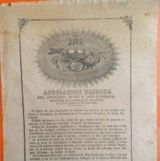 Documentos antiguos: MURCIA- PARROQUIA DE SAN ANTOLIN- ASOCIACION PIADOSA SAN LUIS GONZAGA- 1.879. Lote 117115511