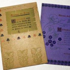 Documentos antiguos: 2 VOL. MEMORIA ATENEO DE SANS 1899. JUNTA ORDINARIA SOCIOS. TOBELLA Y COSTA IMPRESORES, 1899.. Lote 117186423