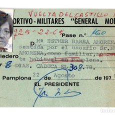 Documentos antiguos: CARNET CENTRO DEPORTIVO MILITAR GENERAL MOLA 1978. Lote 117583123