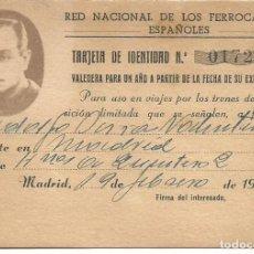 Documentos antiguos: RED NACIONAL DE LOS FERROCARRILES ESPAÑOLES TARJETA IDENTIDAD MADRID 1944 MBE. Lote 117731027