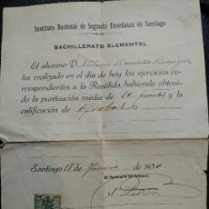Documentos antiguos: DOCUMENTO REVALIDA BACHILLERATO ELEMENTAL DE 1930. Lote 118099847