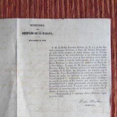 Documentos antiguos: 1862-NACIMIENTO MARÍA DE LA PAZ JUANA.HIJA DE LA REINA DE ESPAÑA ISABEL II.OBISPADO DE LA HABANA.. Lote 118132771