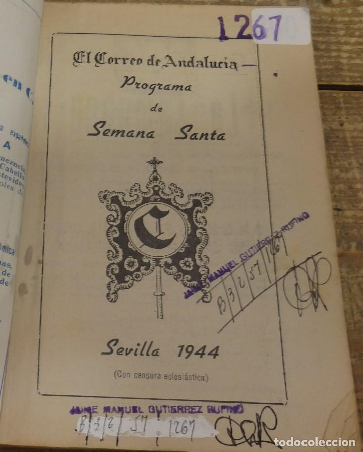 Documentos antiguos: SEVILLA SEMANA SANTA PROGRAMA 1944 EL CORREO DE ANDALUCIA ILUSTRADO PUBLICIDAD HORARIOS PROCESIONES - Foto 2 - 118193831