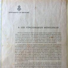 Documentos antiguos: BARCELONA- AYUNTAMIENTO- GUERRA CIVIL 1.939- CIRCULAR- BANDO. Lote 118368135