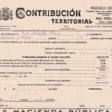 Documentos antiguos: CONTRIBUCION RIQUEZA URBANA - 1933 - PROVINCIA DE ALICANTE. Lote 118435663