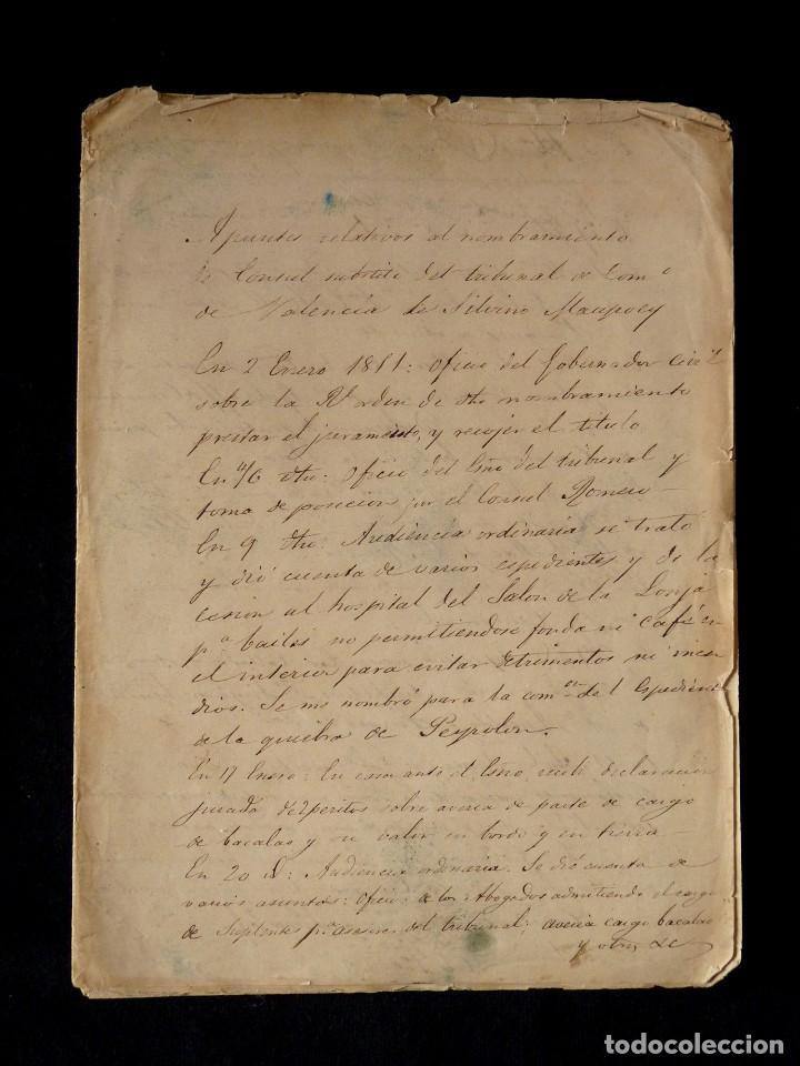 APUNTES RELATIVOS AL NOMBRAMIENTO DE CONSUL SUSTITUTO DEL TRIBUNAL COMERCIO VALENCIA,1851 MAUPOEY (Coleccionismo - Documentos - Otros documentos)