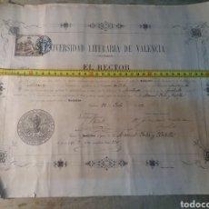 Documentos antiguos: VALENCIA TITULO DE BACHILLER 1882. Lote 118488038
