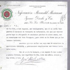 Documentos antiguos: CARTA COMERCIAL. MERCERIA FERRETERIA. NEGOCIACION MERCANTIL MEXICANA. 1912. SAN LUIS POTOSI. Lote 118862543