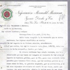 Documentos antiguos: CARTA COMERCIAL. MERCERIA FERRETERIA. NEGOCIACION MERCANTIL MEXICANA. 1912. SAN LUIS POTOSI. Lote 118862559