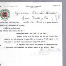 Documentos antiguos: CARTA COMERCIAL. MERCERIA FERRETERIA. NEGOCIACION MERCANTIL MEXICANA. 1912. SAN LUIS POTOSI. Lote 118865191
